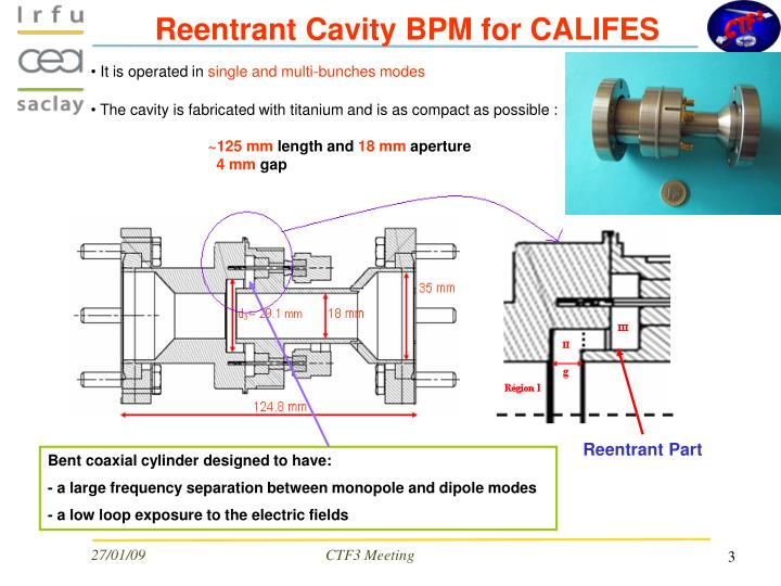 Reentrant cavity bpm for califes