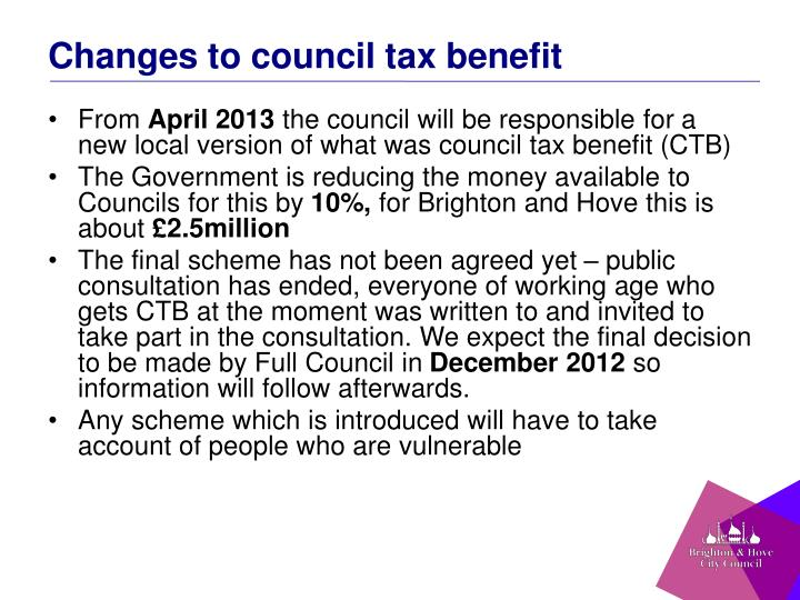 Changes to council tax benefit