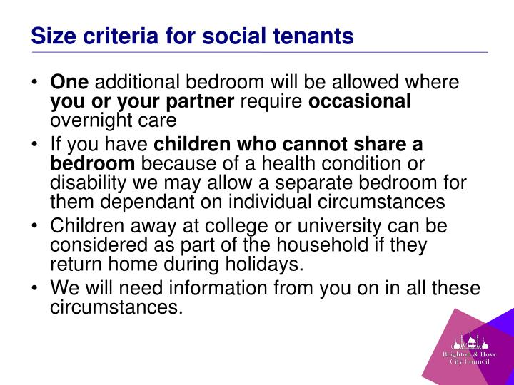 Size criteria for social tenants