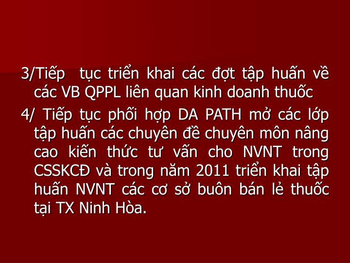 3/Tip  tc trin khai cc t tp hun v cc VB QPPL lin quan kinh doanh thuc