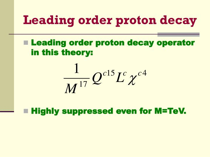 Leading order proton decay