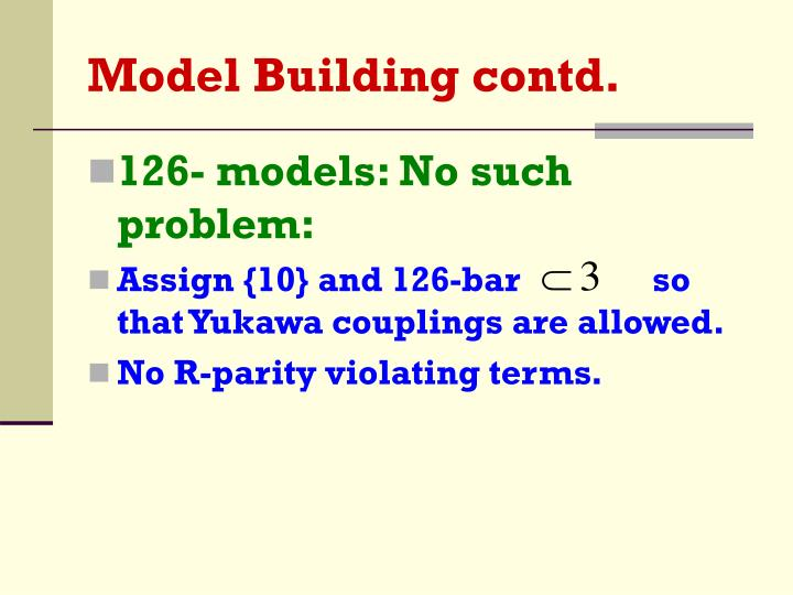 Model Building contd.
