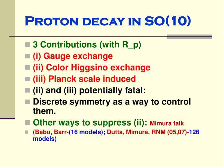 Proton decay in SO(10)