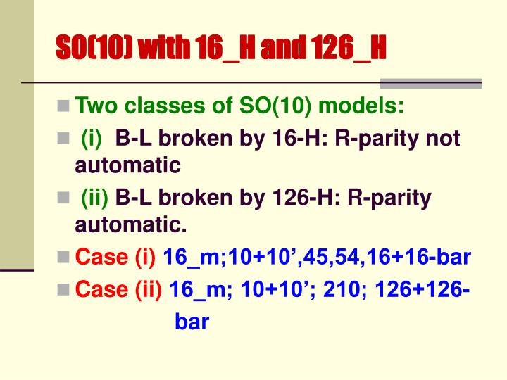 SO(10) with 16_H and 126_H