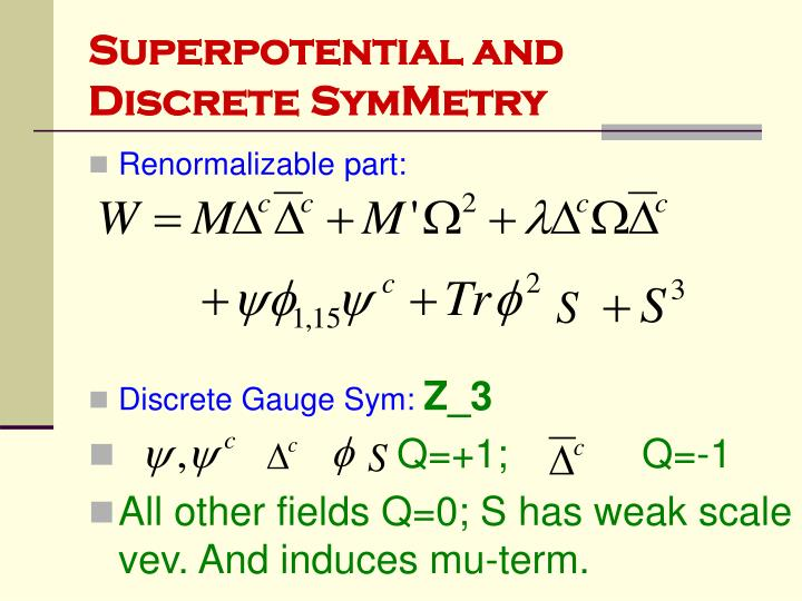 Superpotential and Discrete SymMetry