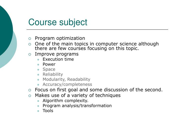 Course subject