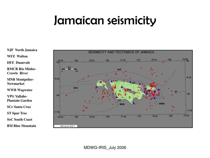 Jamaican seismicity