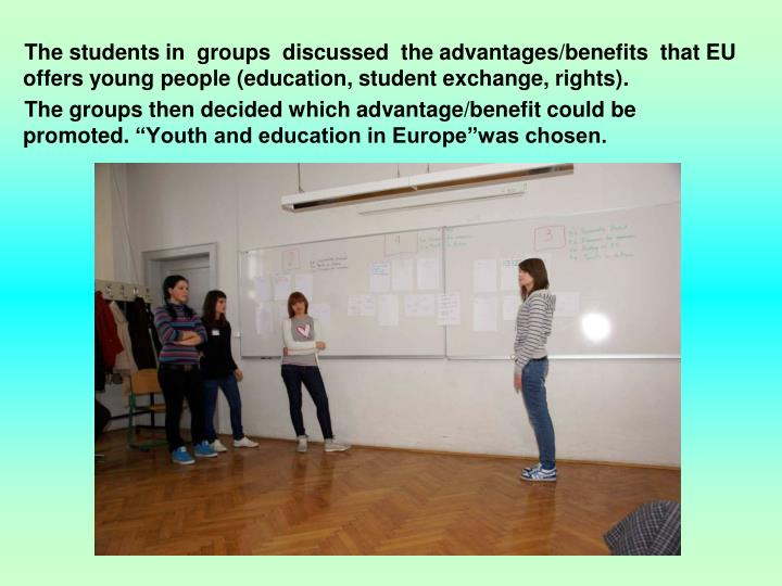 The students in  groups  discussed