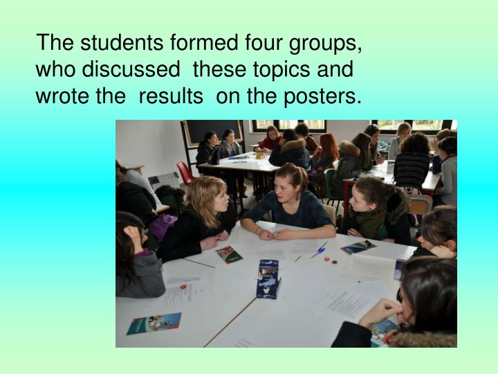 The students formed four groups, who discussed  these topics and  wrote the  results  on the posters.