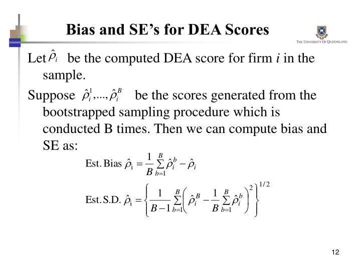 Bias and SE's for DEA Scores