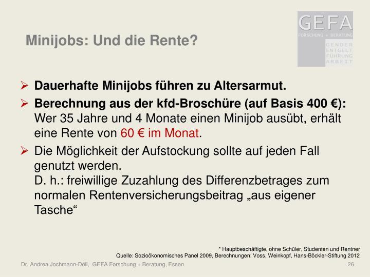 Minijobs: Und die Rente?