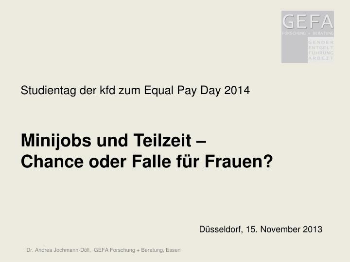 Studientag der kfd zum Equal Pay Day 2014