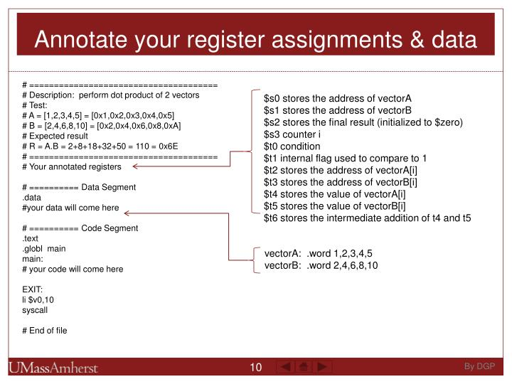 Annotate your register assignments & data