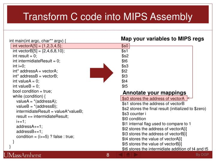 Transform C code into MIPS Assembly