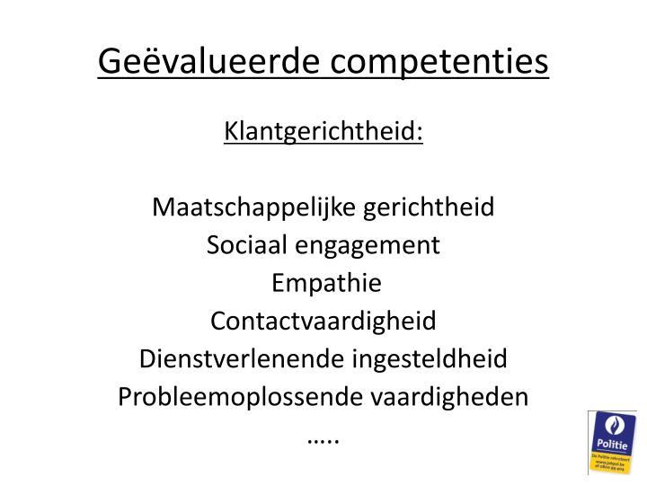 Geëvalueerde competenties