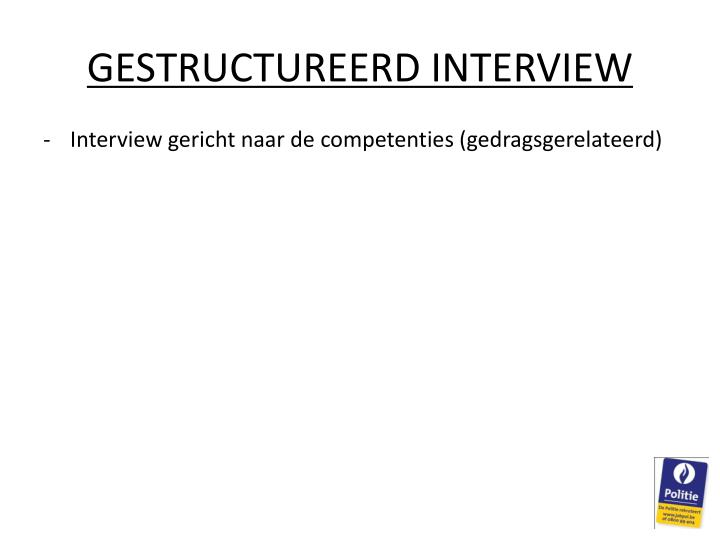 GESTRUCTUREERD INTERVIEW