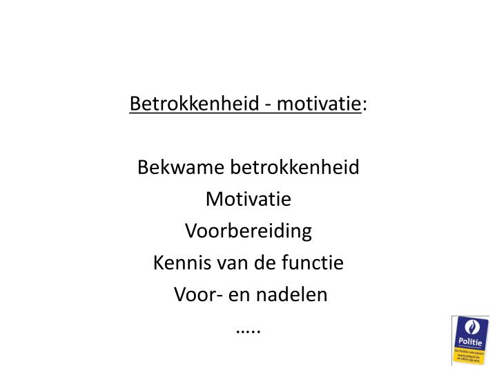 Betrokkenheid - motivatie