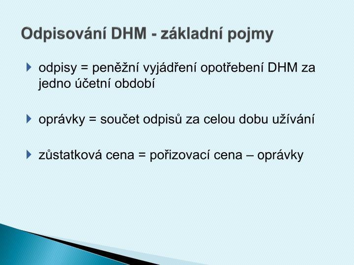 Odpisování DHM - základní pojmy
