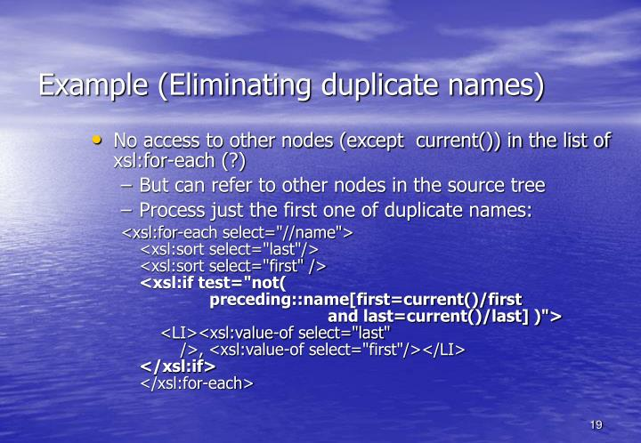 Example (Eliminating duplicate names)