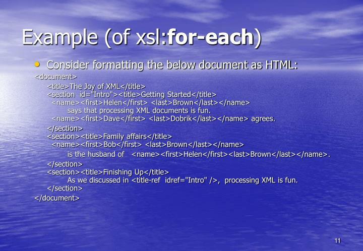 Example (of xsl: