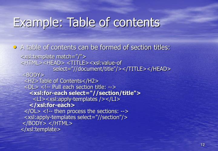 Example: Table of contents