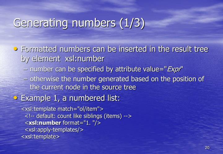Generating numbers (1/3)