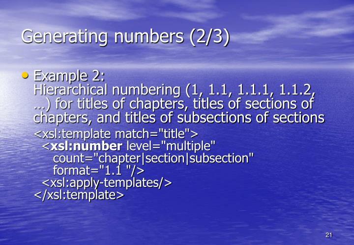 Generating numbers (2/3)