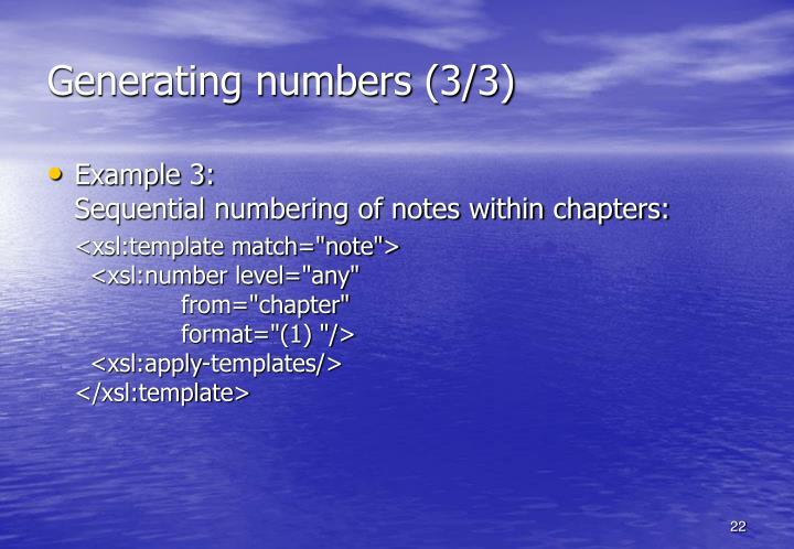 Generating numbers (3/3)