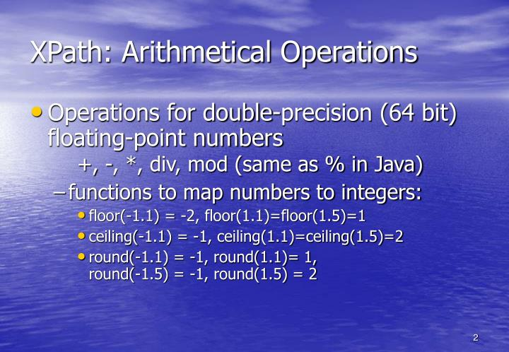 Xpath arithmetical operations