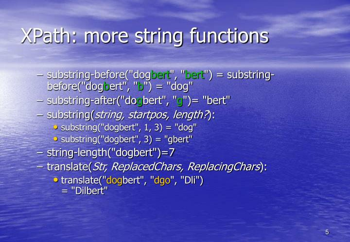XPath: more string functions