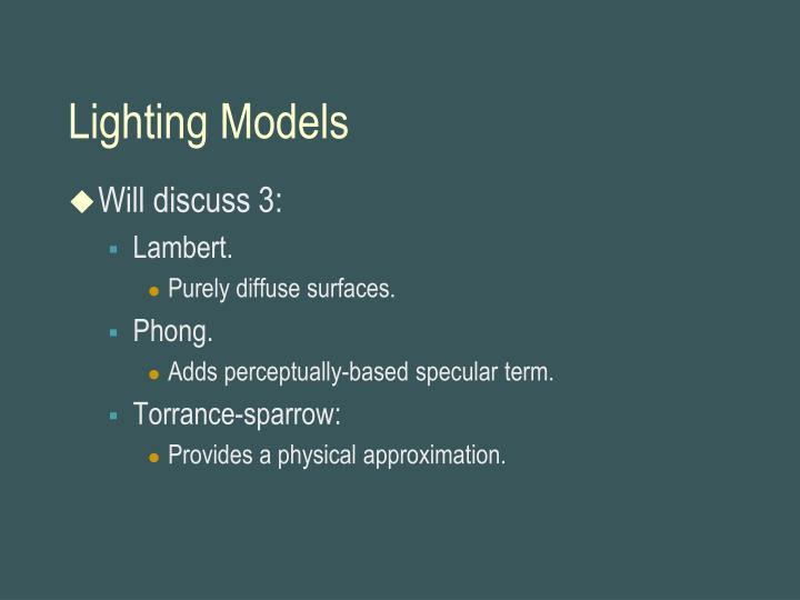 Lighting Models