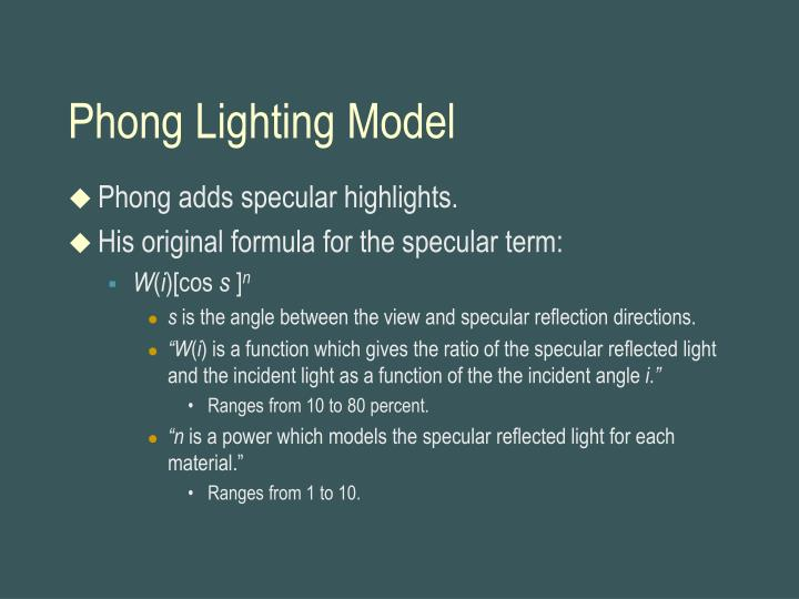 Phong Lighting Model