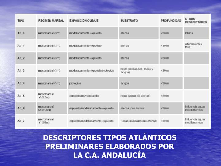 DESCRIPTORES TIPOS ATLÁNTICOS PRELIMINARES ELABORADOS POR LA C.A. ANDALUCÍA