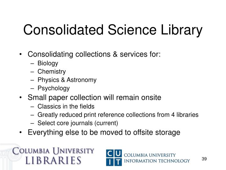 Consolidated Science Library