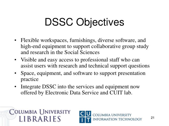DSSC Objectives