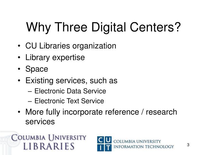 Why Three Digital Centers?