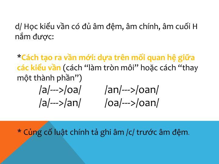 d/ Học kiểu vần có đủ âm đệm, âm chính, âm cuối H nắm được: