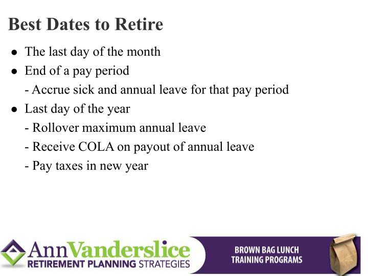 Best Dates to Retire