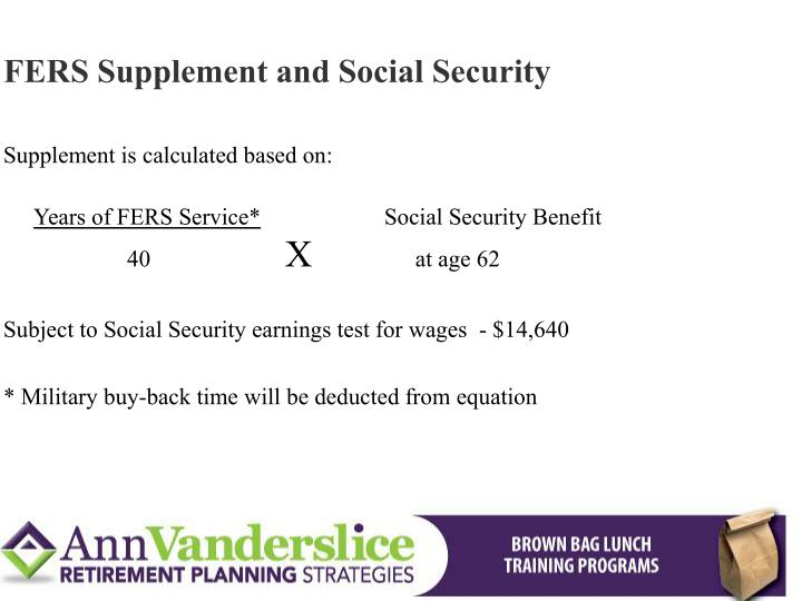 FERS Supplement and Social Security