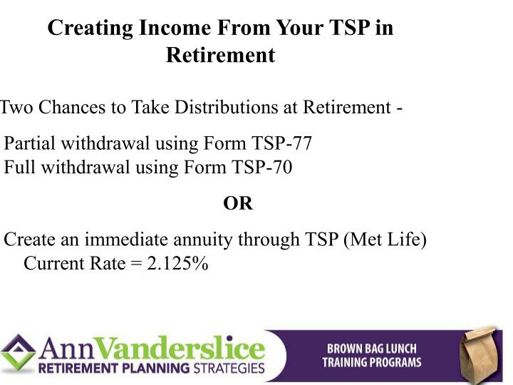 Creating Income From Your TSP in