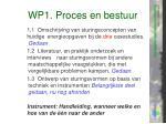 wp1 proces en bestuur