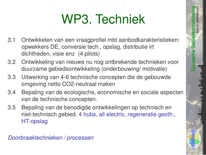 WP3. Techniek