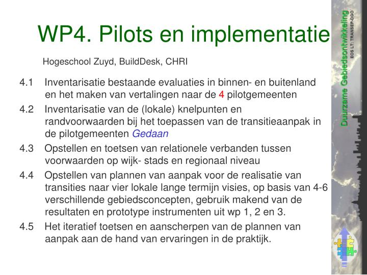 WP4. Pilots en implementatie