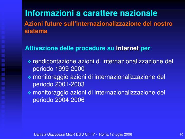 Azioni future sull'internazionalizzazione del nostro sistema