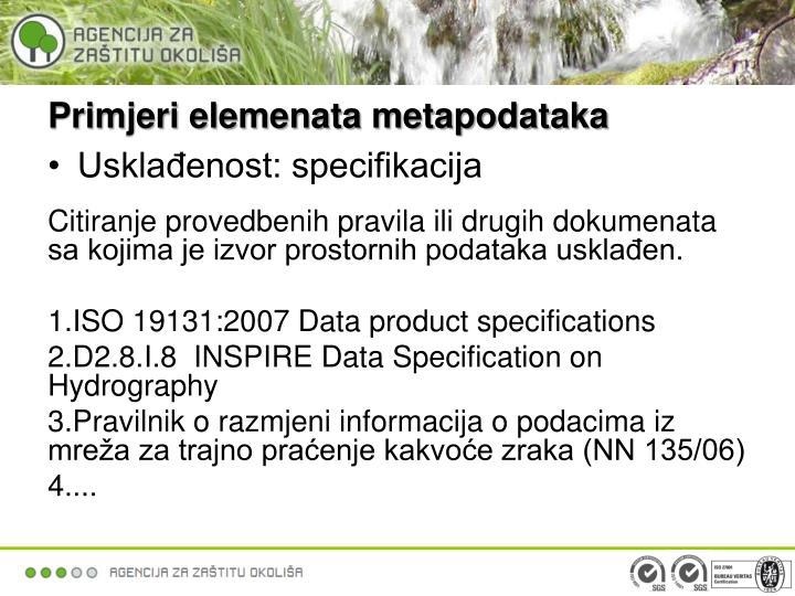 Primjeri elemenata metapodataka