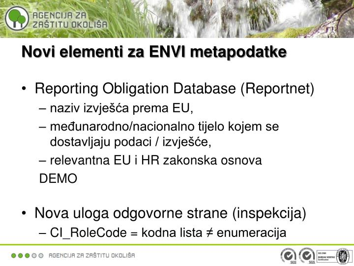 Novi elementi za ENVI metapodatke