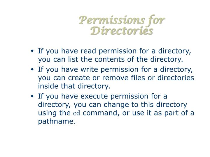Permissions for Directories