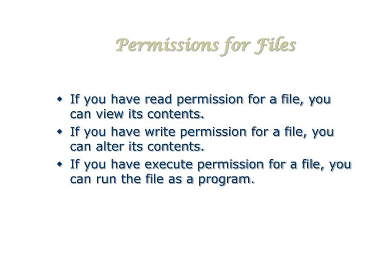Permissions for Files