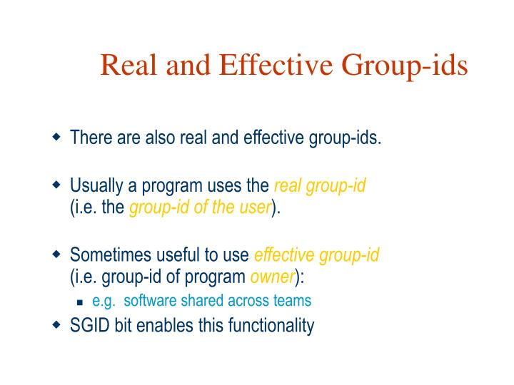 Real and Effective Group-ids