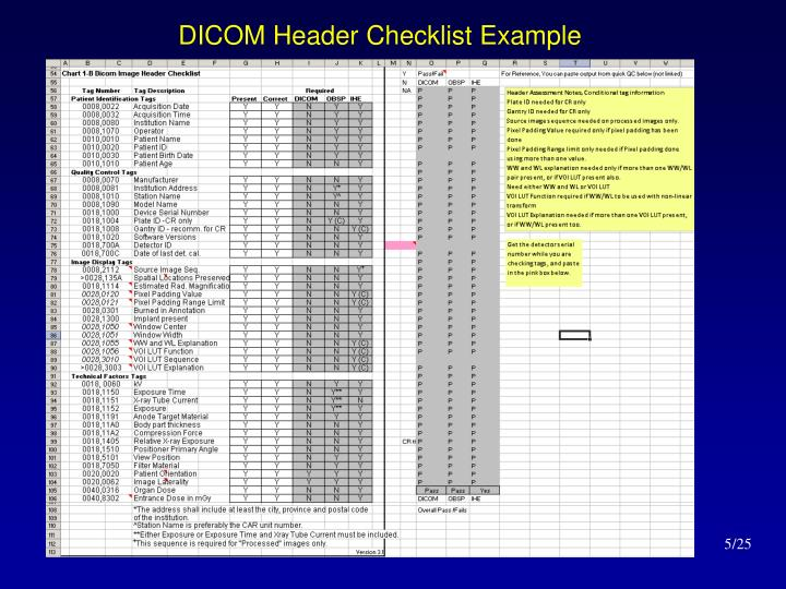 DICOM Header Checklist Example